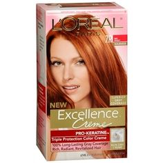 LOreal Excellence Hair Color Creme - Red Penny - 1 EA Loreal Hair Color Creme, Red Penny is healthy and natural looking color. , LOreal , L'oreal Usa, Inc. At Home Hair Color, Hair Color For Black Hair, Ombre Hair Color, Blonde Color, Cool Hair Color, Hair Colors, Red Color Chart, Color Cobrizo, Best Copper Hair Dye