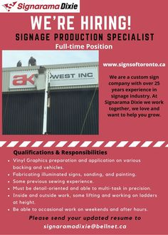 #hiring #signindustry #jobvacancy #signaramadixie #productionstaff #vinylgraphic #signinstallation Sign Installation, Sign Company, Signage, No Response, Positivity, Billboard, Signs, Optimism