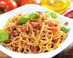 Spaghetti à la bolognaise au parmesan râpé : http://www.cuisineaz.com/recettes/spaghetti-a-la-bolognaise-au-parmesan-rape-79383.aspx