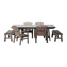 SUNDERÖ table with 2 benches and 4 chairs, gray, pine
