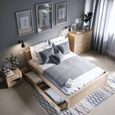 cozy grey and white bedroom ideas; bedroom ideas for small rooms; bedroom decor on a budget; bedroom decor ideas color schemes ideas for small rooms for adults color schemes grey Grey And White Bedroom Ideas On A Budget Bedroom Furniture Placement, Wood Bedroom, Small Room Bedroom, Furniture Layout, Trendy Bedroom, Furniture Styles, White Bedroom, Bedroom Colors, Modern Bedroom