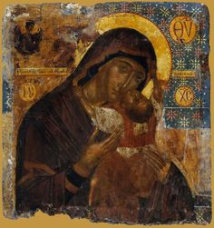 This portable icon depicts the Virgin Glykophilousa-Kardiotissa. According to its stylistic elements, that strongly remind th. Raphael Angel, Archangel Raphael, Greek Icons, Infant Of Prague, Peter Paul Rubens, Albrecht Durer, Orthodox Icons, Angel Art, Renaissance Art