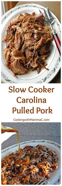 Slow Cooker Carolina Pulled Pork - a family favorite and one of the most popular recipes on Cooking with Mamma C! Just 15 minutes of prep and let it cook in the Crock Pot all day.