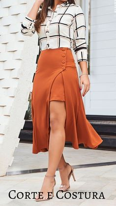 Skirt Outfits, Cool Outfits, Fashion Sewing, 70s Fashion, Fashion Tips, Western Dresses, Classy Dress, Japanese Fashion, Women's Fashion Dresses