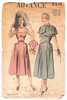 Vintage 1949 Advance 5511 Sewing Pattern by SewUniqueClassique, $26.00