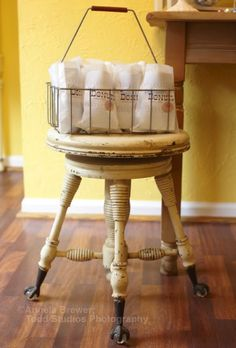 Love this little stool... and the donuts of course!