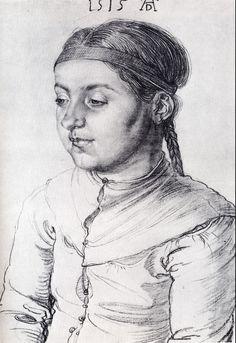 Head of a Girl, drawing, 1515 Albrecht Dürer. Head of a Girl, drawing, 1515 Renaissance Artworks, Renaissance Kunst, Cute Drawings, Drawing Sketches, Albrecht Dürer, Art Base, Chiaroscuro, Italian Artist, Gravure