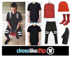 "Tyler's outfit from ""Stressed Out""Shirt: exact (x)Under shirt: exact (i think?) (x) Bottoms: exact (x)Backpack: exact (x)Beanie: (x)Socks: (x)Shoes: exact (x) and for the gals (x)"