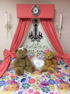 Bed canopy girls CURTAINS Princess Bedroom Crib Bedroom CoRal Nursery teester Decor Shabby Chic cornice Queen Full Twin Initial Crown Sale Coral Bedroom, Bedroom Paint Colors, Bedroom Color Schemes, Girls Bedroom, Coral Nursery, Bedroom Ideas, Princess Canopy Bed, Princess Bedrooms, Brown Headboard