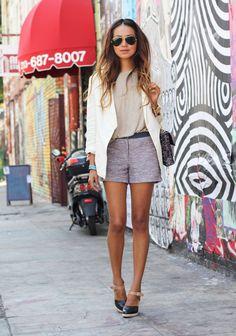 Blazer: H & M  |  Tee: Zara  |  Shorts: Sachin + Babi  |  Heels: Loeffler Randall |    Bag by: Temoc Gonzalez For Harvey's