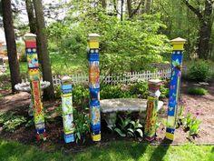 Kid at Art Garden Peace Pole with Solar Light Outdoor Art Decoration Solar Licht, Peace Pole, Solar Light Crafts, Diy Solar, Lake Garden, Sweet Home, Garden Poles, Childrens Artwork, Garden Signs