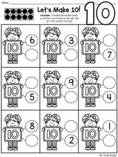 Decomposing Numbers (Decomposing Worksheets) by My Study Buddy Number Worksheets Kindergarten, First Grade Worksheets, Kindergarten Math, Phonics Activities, Math Resources, Teacher Education, Physical Education, Decomposing Numbers, Math Addition