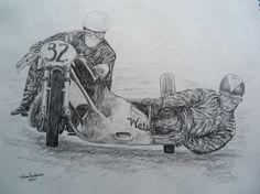 Eric Oliver, Stan Dibben, Spa-Francorchamps, 1953. World Champions, 1953. 11x14, graphite pencil, mar 8, 2015