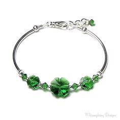 St. Patrick's Day Bracelet, St. Patrick's Day Jewelry, Swarovski Crystal, Green Shamrock, Four Leaf Clover, Luck of the Irish, Saint Patrick...