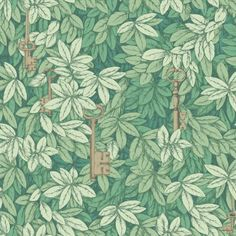 Cole and Son Chiavi Segrete wallpaper in Green from The Fornasetti II Collection Fornasetti Wallpaper, Piero Fornasetti, Paper Wallpaper, Green Wallpaper, Wallpaper Online, Wall Wallpaper, Custom Wallpaper, Silver Wallpaper, Groomsmen
