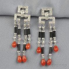 Onyx, Coral, and Diamond Earpendants, each top bead-set with diamond melee, suspending drops of baton-shaped black onyx, bezel-set diamonds,...