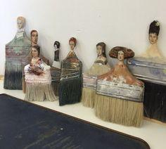 paintbrush figures by Rebecca Szeto Fine Art … - Assemblage Art Paint Brush Art, Paint Brushes, Found Object Art, Junk Art, Paperclay, Assemblage Art, Outsider Art, Recycled Art, Repurposed