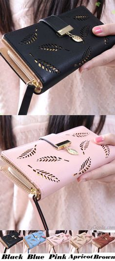 Unique PU Leaves Hollowed-out Rectangle Purse Card Bag Girl's Wallet Clutch Bag for big sale! #leaves #unique #purse #bag #wallet #clutch