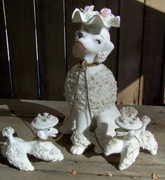 Vintage Lefton Spaghetti Poodle Chained Family I HAD THESE SITTING ON THE MANTLE IN THE FIFTIES