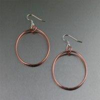 Chased Copper #Hoop #Earrings. Hoops are always hot!   http://www.ilovecopperjewelry.com/chased-copper-hoop-earrings-2.html  $24.00