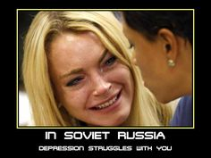 In Soviet Russia... Depression struggles with you. Crossfit Humor, Gym Humour, Fitness Humour, Workout Memes, Gym Memes, Workouts, Lindsay Lohan, Gym Quote, Normal Life