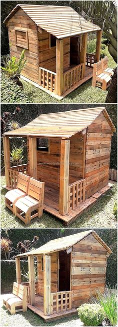 Recycled Pallet Now, craft this fabulous wooden recycled pallets made playhouse for kids. This is the perfect playhouse for all kids as it has smartly crafted porch, wooden door and window structure and an amazing pallets wood roof. Pallet Playhouse, Build A Playhouse, Wooden Playhouse, Pallet Kids, Diy Pallet Projects, Woodworking Projects, Recycled Pallets, Wooden Pallets, Recycled Wood