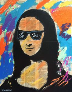 ORIGINAL PAINTING Mona Lisa Pop Art Portrait Raw Outsider Da Vinci Illustration  #PopArt