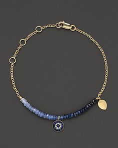 Meira T Diamond, Sapphire and 14K Yellow Gold Evil Eye Bracelet | Bloomingdale's