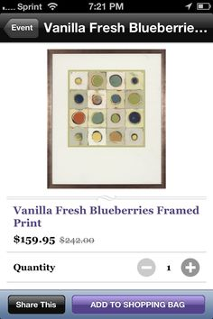 Vanillas fresh blueberries print $159.95 https://www.jossandmain.com/Vanilla-Fresh-Blueberries-Framed-Print~CUMA1074~E3045.html?src=2=461AD2