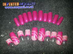 Pre-done Inverted Moulds created using our Hot Pink Acrylic powder and Baby Pink Glitter.  By Kerry Oconnor Kerry NailTech   IM Nail Training www.easynail.co.uk   #Invertedmoulds #nails #nailart #acrylicnails #falsenails #hotpink #glitter #nailswag