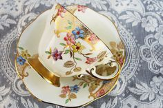 Foley Tea Cup and Saucer, Gold Lattice Floral