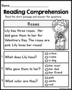 Kindergarten Reading Comprehension Passages - Valentine's Freebie