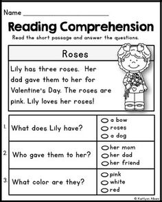 Kindergarten Reading Comprehension Passages - Valentine's Freebie