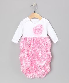 White & Pink Rosette Gown - Infant