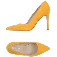 Orciani Court ($305) ❤ liked on Polyvore featuring shoes, pumps, yellow, spiked heel shoes, yellow pumps, orciani, leather pumps and yellow shoes