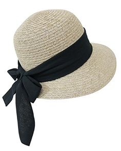 bdf554509b1 Straw Packable Sun Hat for Women - Wide Front Brim and Smaller Back - SPF  50 (Black Sash)