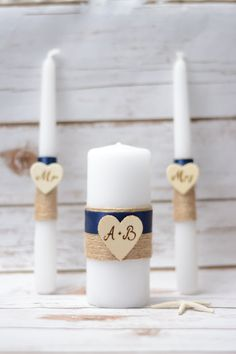 Rustic Unity Candle Set Navy Blue Candle by HappyWeddingArt