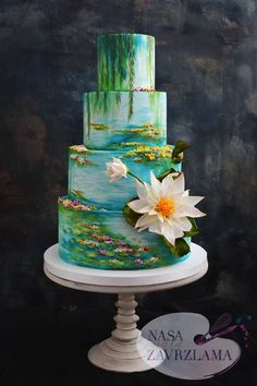 Water Lilies (Claude Monet) Wedding CakeHand painted wedding cake with wafer paper flowers Crazy Cakes, Crazy Wedding Cakes, Fancy Cakes, Gorgeous Cakes, Pretty Cakes, Cute Cakes, Amazing Cakes, Beautiful Cake Designs, Cool Cake Designs