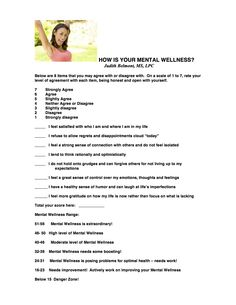 Take this short quiz to find out your mental wellness IQ! Click for other free psycho-educational handouts.