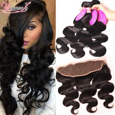 7A Brazilian Body Wave With Frontal Closure Ear To Ear Lace Frontal Closure Body Wave 3 bundles With Lace Frontal Closure