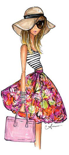 Fashion Illustration Print, Stripes + Floral by Anum Tariq