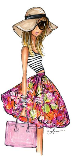 Fashion Illustration Print, Stripes + Floral by Anum Tariq