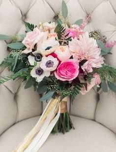 a beautiful mix of flowers and greenery | via Green Wedding Shoes