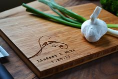"""Personalized Cutting Board """"two Birds"""" Bamboo Wood For Wedding Or Anniversary…"""