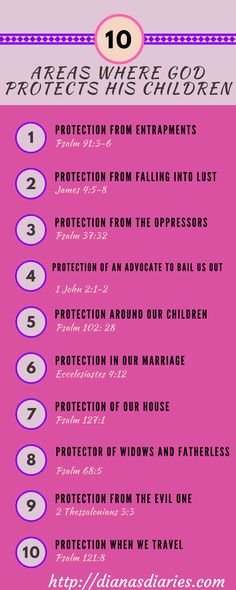 10 areas in our life God promises to Protect us on Diana's Diaries http://dianasdiaries.com