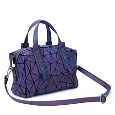 Geometric Holographic Purses Luminous Handbags - Large Tote Top-Handle Bags with Zipper Closure Satchel Boston Bags >>> Check out the image by visiting the link. (This is an affiliate link) Cheap Handbags, Handbags On Sale, Luxury Handbags, Tote Handbags, Purses And Handbags, Leather Handle, Real Leather, Holographic Purse, Unique Purses