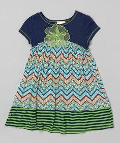 This Pink Vanilla Navy & Green Zigzag Flower Dress - Toddler & Girls by Pink Vanilla is perfect! #zulilyfinds