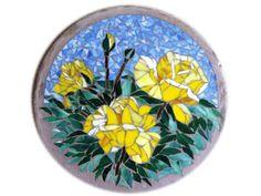 Mosaic Rocks, Mosaic Stepping Stones, Mosaic Glass, Rock Steps, Mosaic Madness, Yellow Roses, Cut Glass, Mosaics, Sculpture Art