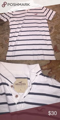 NWOT Hollister Stripped Polo NWOT Hollister Stripped Polo. Runs small Hollister Shirts Polos
