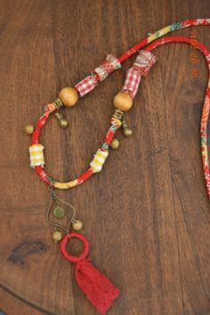 Fabric handmade necklace ,Gipsy ,happy, light, natural jewelry. Red, Yellow Japaneese fabric